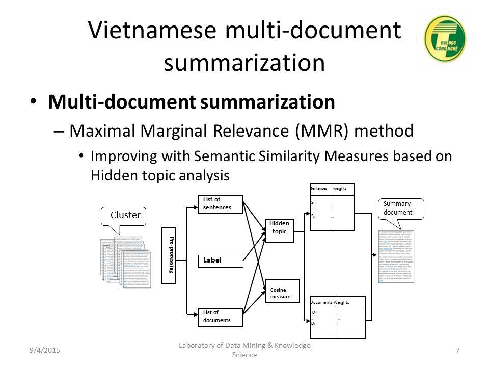 Some studies on Vietnamese multi-document summarization and semantic