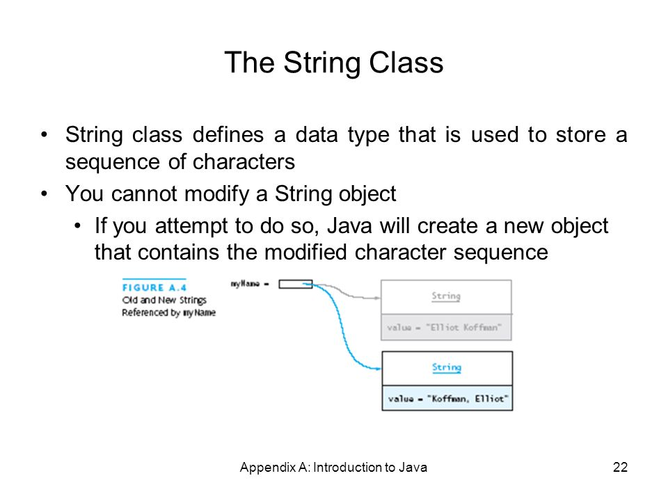 Appendix A: Introduction to Java22 The String Class String class defines a data type that is used to store a sequence of characters You cannot modify a String object If you attempt to do so, Java will create a new object that contains the modified character sequence
