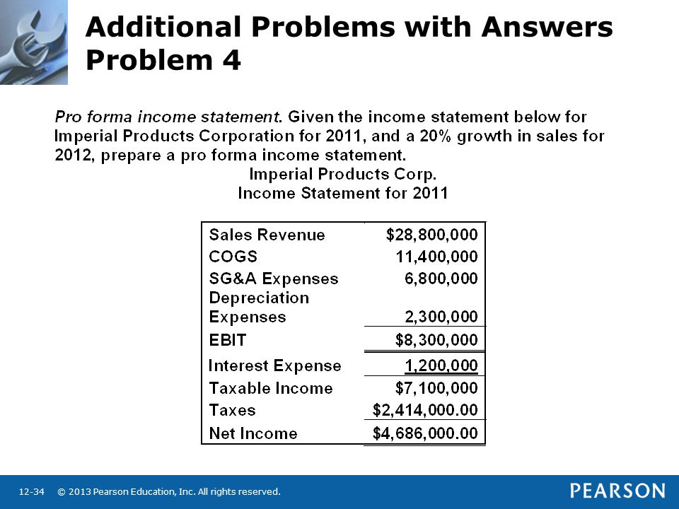 © 2013 Pearson Education, Inc. All rights reserved Additional Problems with Answers Problem 4