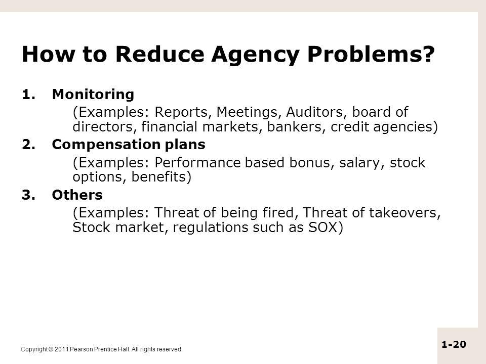 ways to reduce agency problem