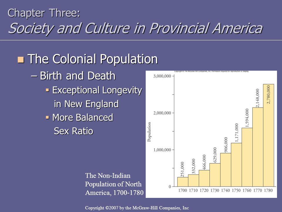 Sex ratios in northern colonies 1600