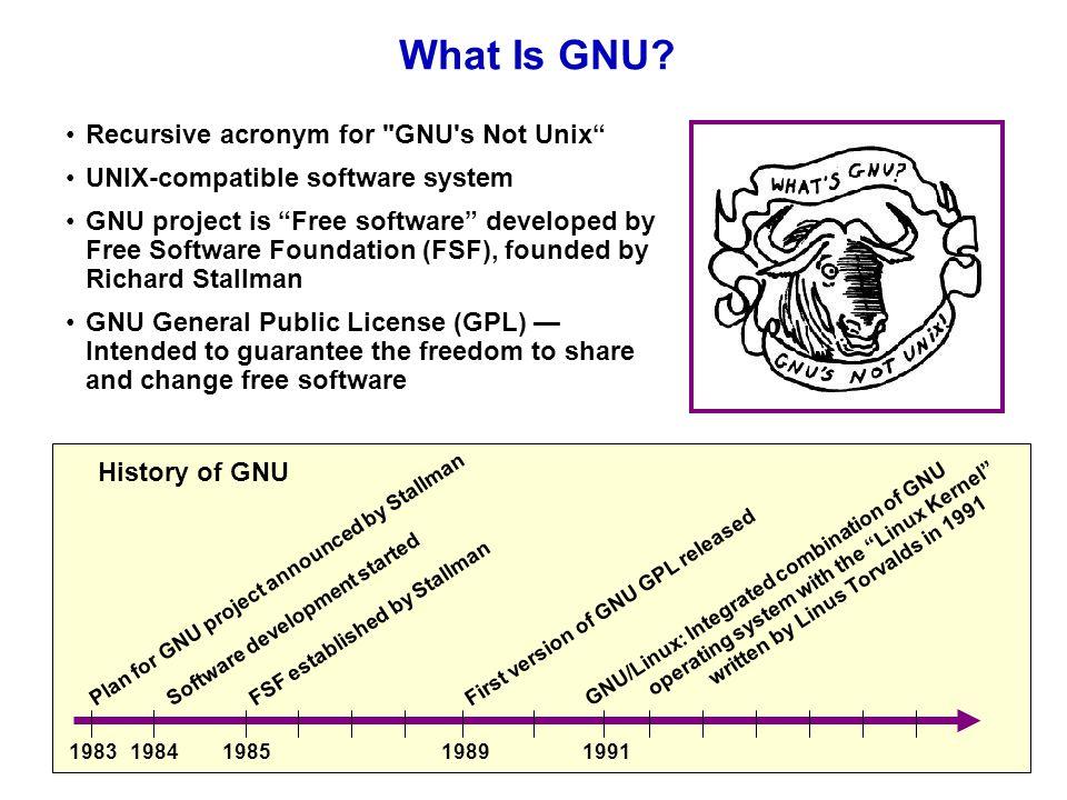 657a27c88 Recursive acronym for GNU s Not Unix UNIX-compatible software system GNU  project is Free