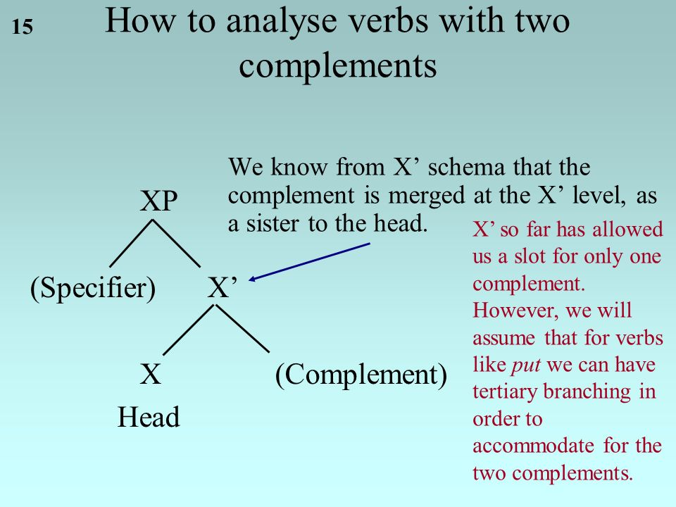 15 XP (Specifier)X' X(Complement) Head We know from X' schema that the complement is merged at the X' level, as a sister to the head.