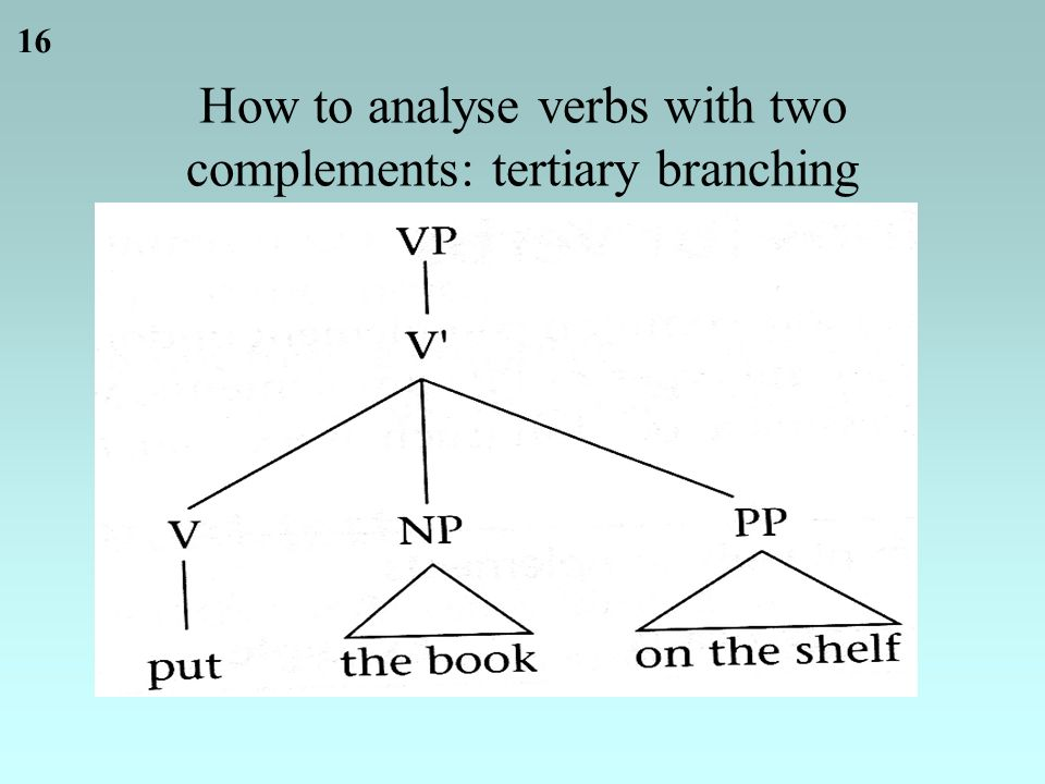 16 How to analyse verbs with two complements: tertiary branching