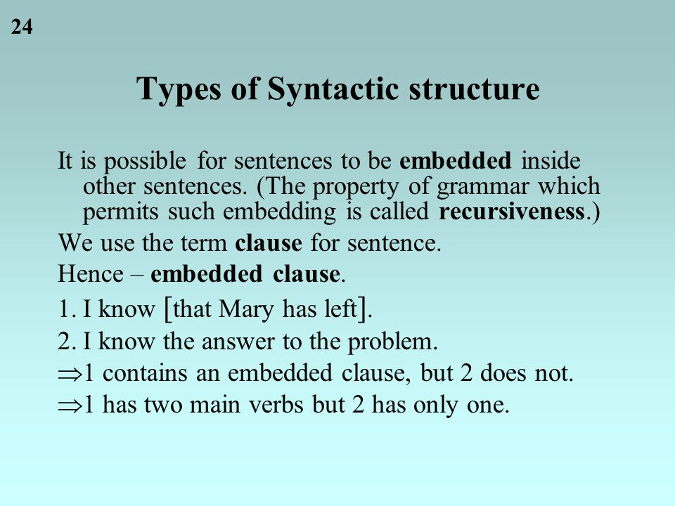 24 Types of Syntactic structure It is possible for sentences to be embedded inside other sentences.