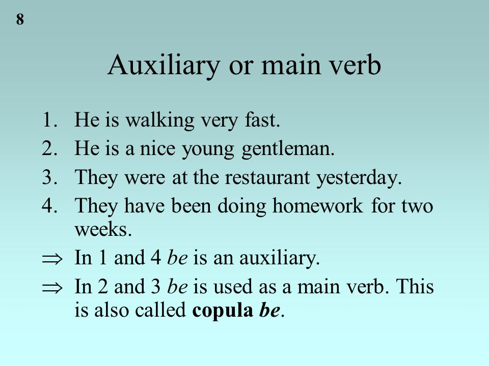 8 Auxiliary or main verb 1.He is walking very fast.