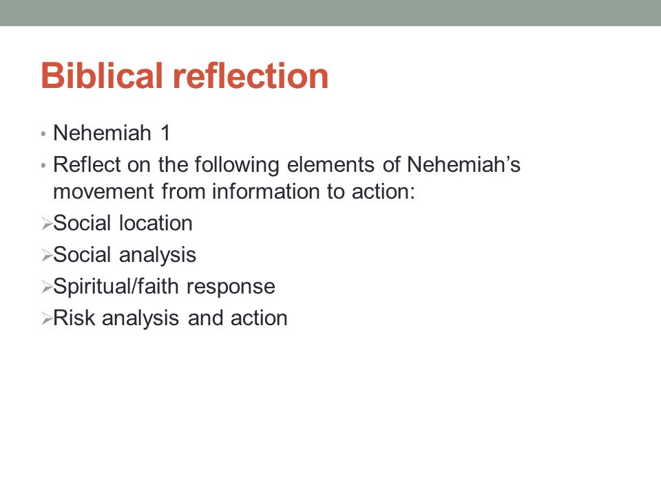 Biblical reflection Nehemiah 1 Reflect on the following elements of Nehemiah's movement from information to action:  Social location  Social analysis  Spiritual/faith response  Risk analysis and action