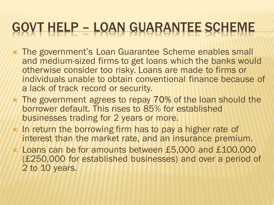  The government's Loan Guarantee Scheme enables small and medium-sized firms to get loans which the banks would otherwise consider too risky.