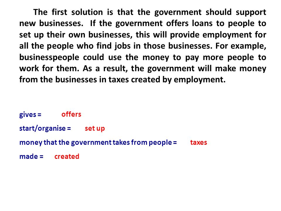 The First Solution Is That Government Should Support New Businesses