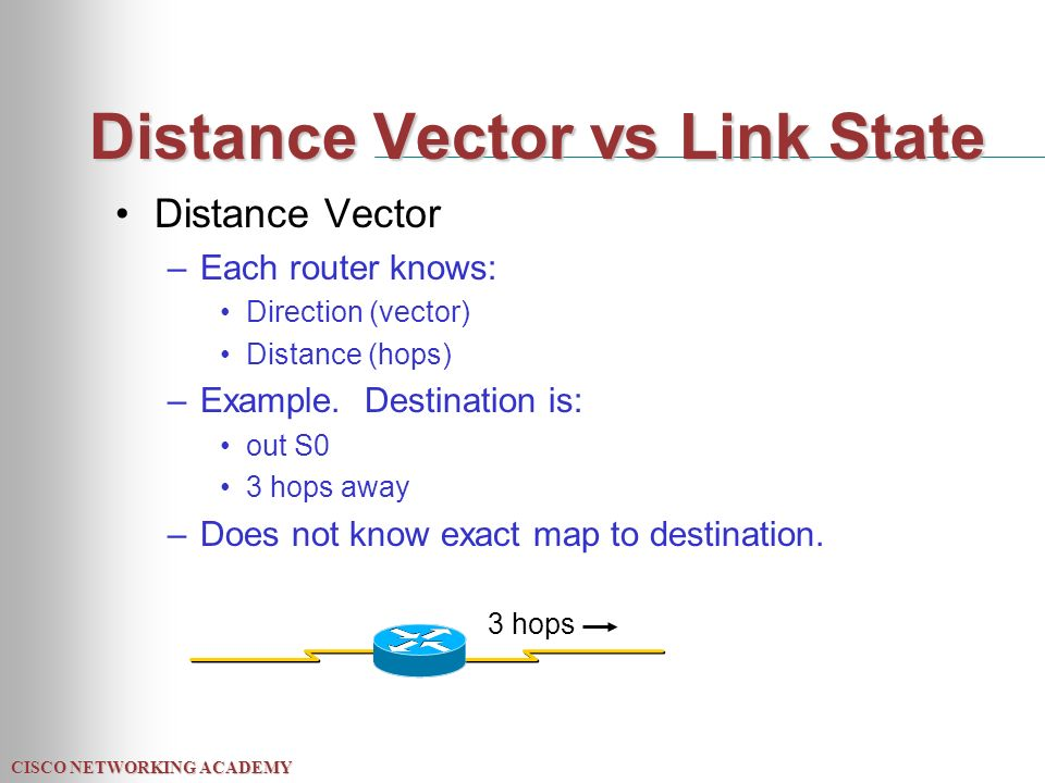 CISCO NETWORKING ACADEMY Distance Vector vs Link State Distance Vector –Each router knows: Direction (vector) Distance (hops) –Example.