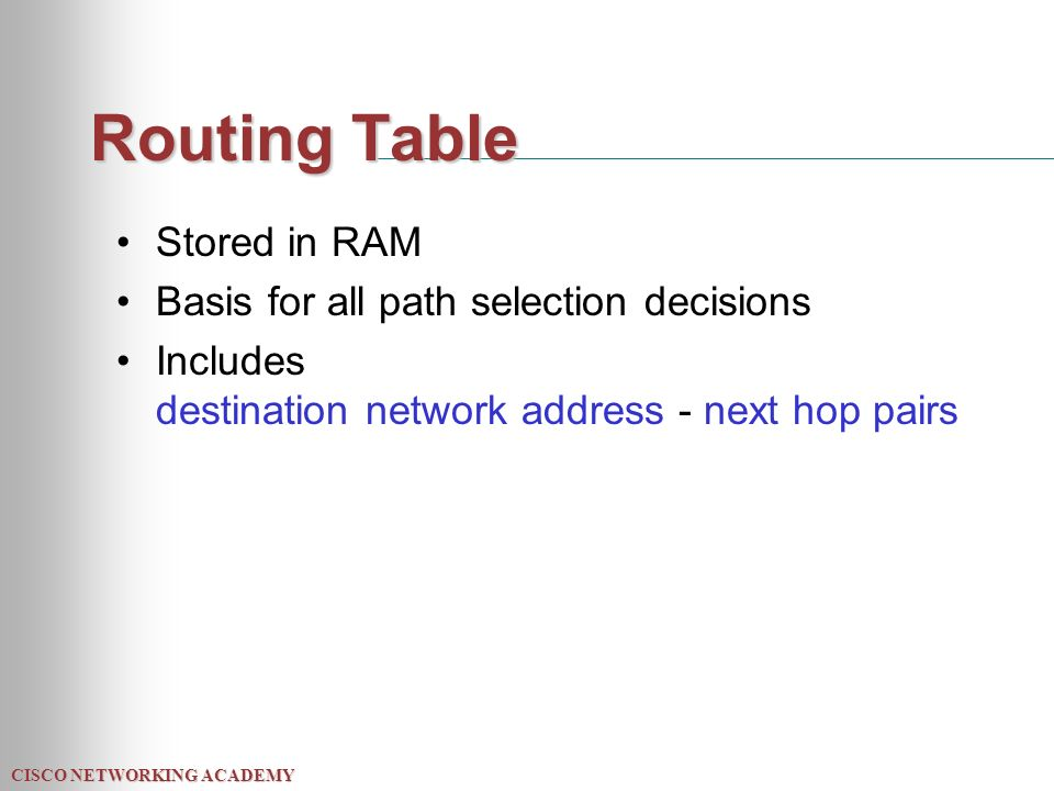 CISCO NETWORKING ACADEMY Routing Table Stored in RAM Basis for all path selection decisions Includes destination network address - next hop pairs