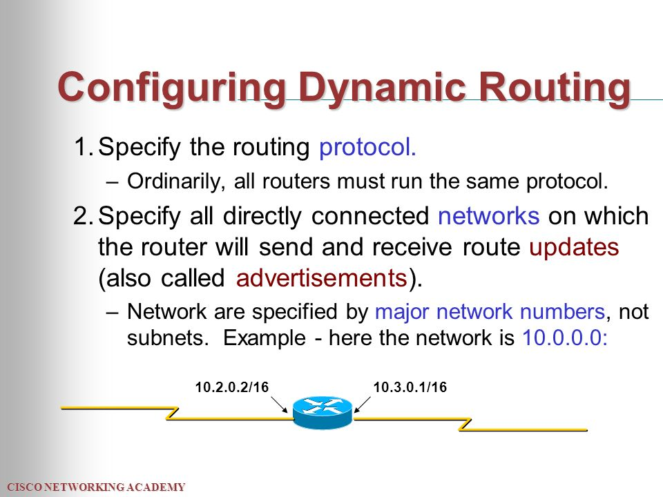 CISCO NETWORKING ACADEMY Configuring Dynamic Routing 1.Specify the routing protocol.