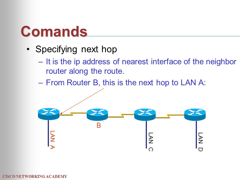 CISCO NETWORKING ACADEMY Comands Specifying next hop –It is the ip address of nearest interface of the neighbor router along the route.