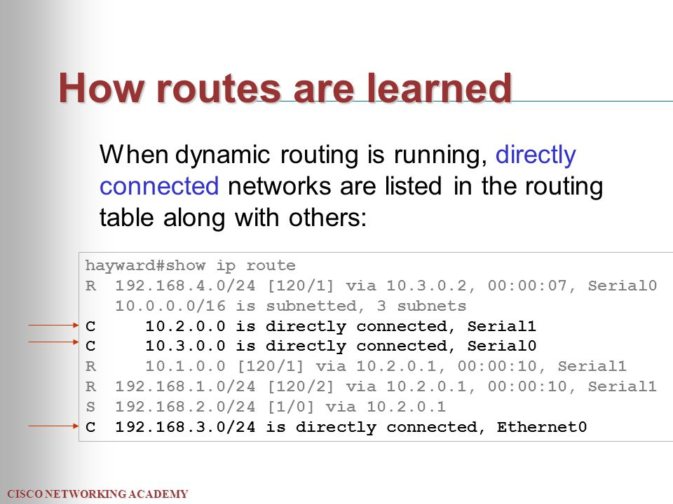 CISCO NETWORKING ACADEMY How routes are learned When dynamic routing is running, directly connected networks are listed in the routing table along with others: hayward#show ip route R /24 [120/1] via , 00:00:07, Serial /16 is subnetted, 3 subnets C is directly connected, Serial1 C is directly connected, Serial0 R [120/1] via , 00:00:10, Serial1 R /24 [120/2] via , 00:00:10, Serial1 S /24 [1/0] via C /24 is directly connected, Ethernet0
