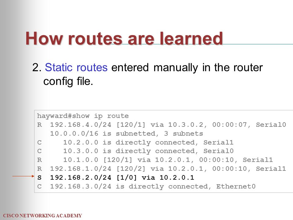CISCO NETWORKING ACADEMY How routes are learned 2.