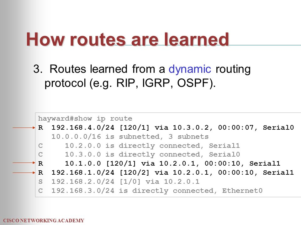 CISCO NETWORKING ACADEMY How routes are learned 3.