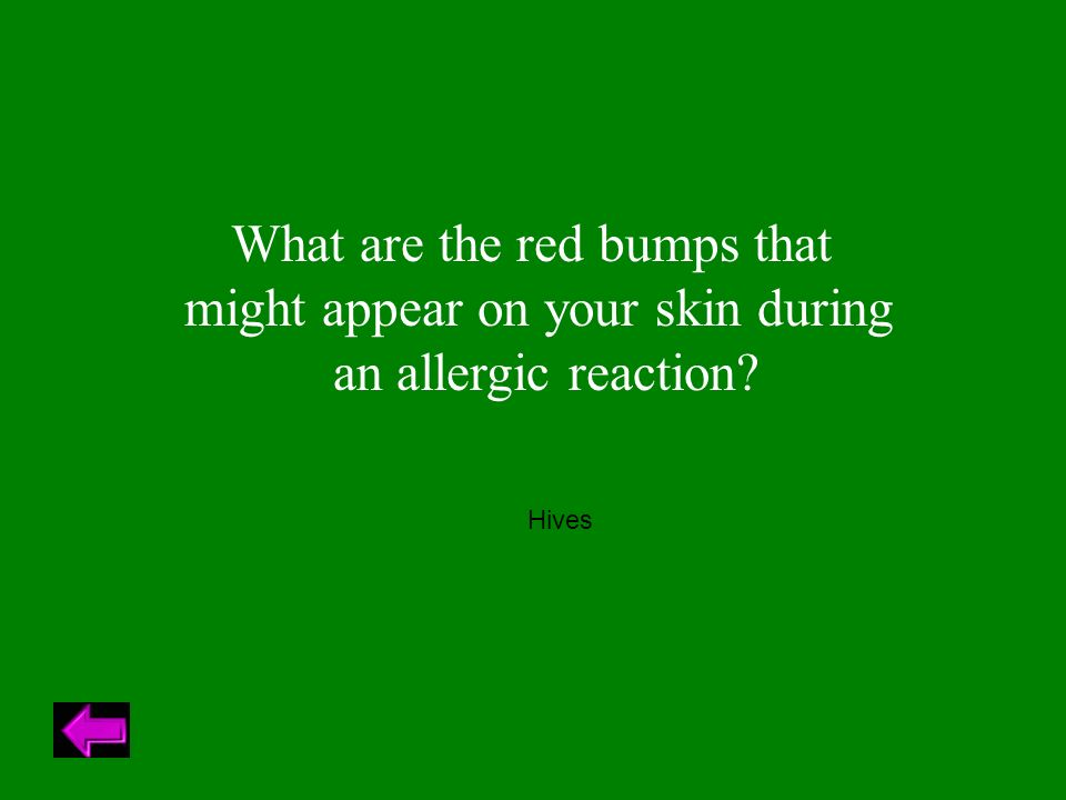 What are the red bumps that might appear on your skin during an allergic reaction Hives