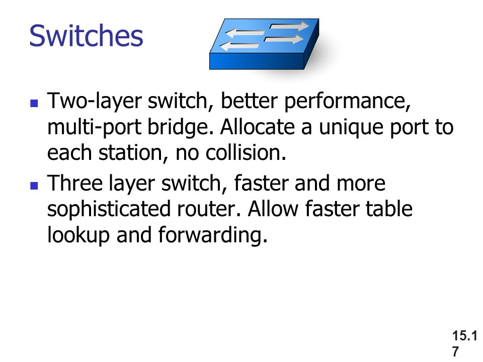 Switches Two-layer switch, better performance, multi-port bridge.