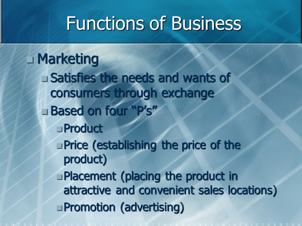 Functions of Business Marketing Marketing Satisfies the needs and wants of consumers through exchange Satisfies the needs and wants of consumers through exchange Based on four P's Based on four P's Product Product Price (establishing the price of the product) Price (establishing the price of the product) Placement (placing the product in attractive and convenient sales locations) Placement (placing the product in attractive and convenient sales locations) Promotion (advertising) Promotion (advertising)