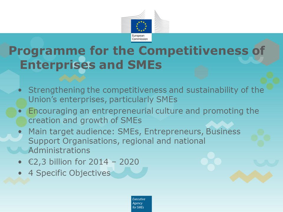 Programme for the Competitiveness of Enterprises and SMEs Strengthening the competitiveness and sustainability of the Union's enterprises, particularly SMEs Encouraging an entrepreneurial culture and promoting the creation and growth of SMEs Main target audience: SMEs, Entrepreneurs, Business Support Organisations, regional and national Administrations €2,3 billion for 2014 – Specific Objectives