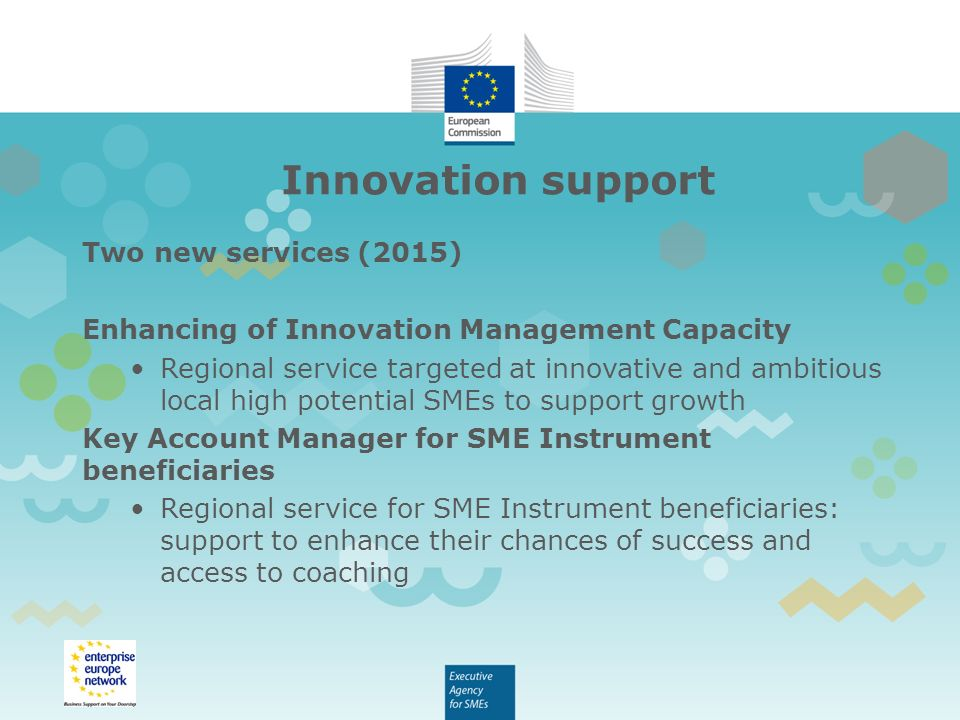 Innovation support Two new services (2015) Enhancing of Innovation Management Capacity Regional service targeted at innovative and ambitious local high potential SMEs to support growth Key Account Manager for SME Instrument beneficiaries Regional service for SME Instrument beneficiaries: support to enhance their chances of success and access to coaching