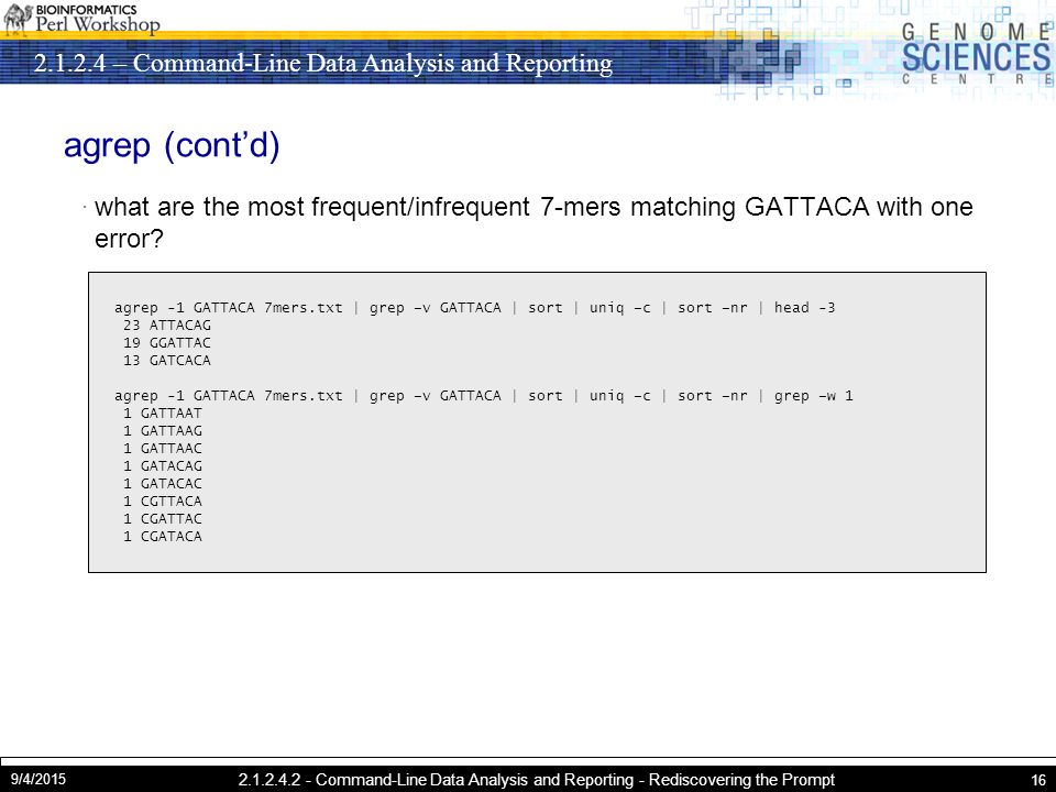 Command-Line Data Analysis and Reporting 9/4/ Command-Line Data