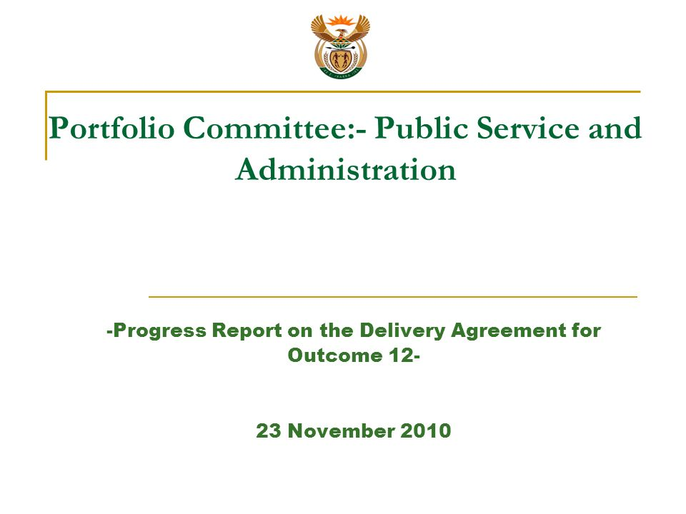 Portfolio Committee Public Service And Administration Progress