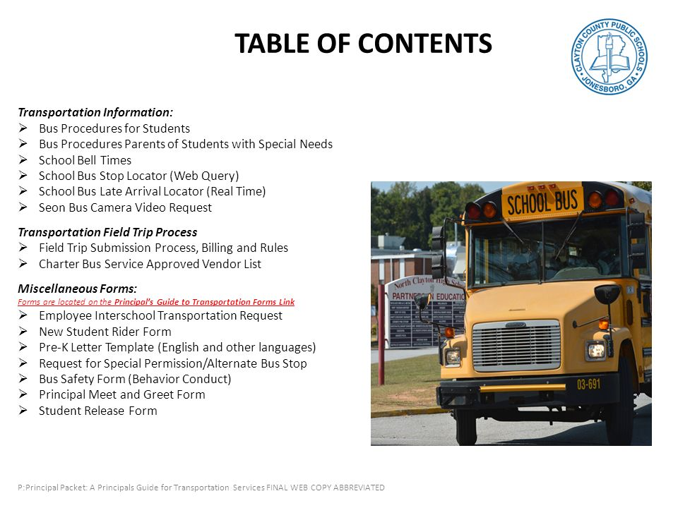 Principals Reference To Transportation Services