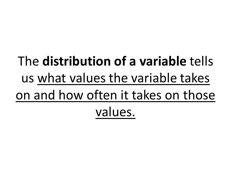The distribution of a variable tells us what values the variable takes on and how often it takes on those values.