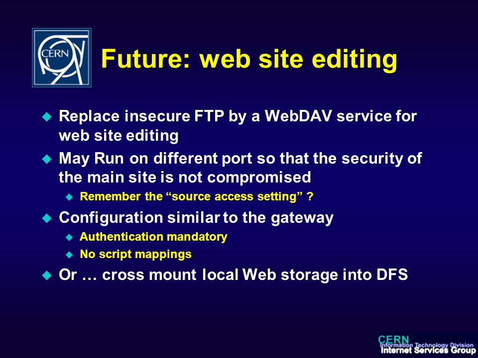 Web-based file systems and WebDAV gateway services to CERN