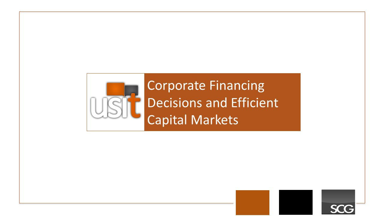 Presentation On Theme Corporate Financing Decisions And Efficient Capital Markets Transcript 1