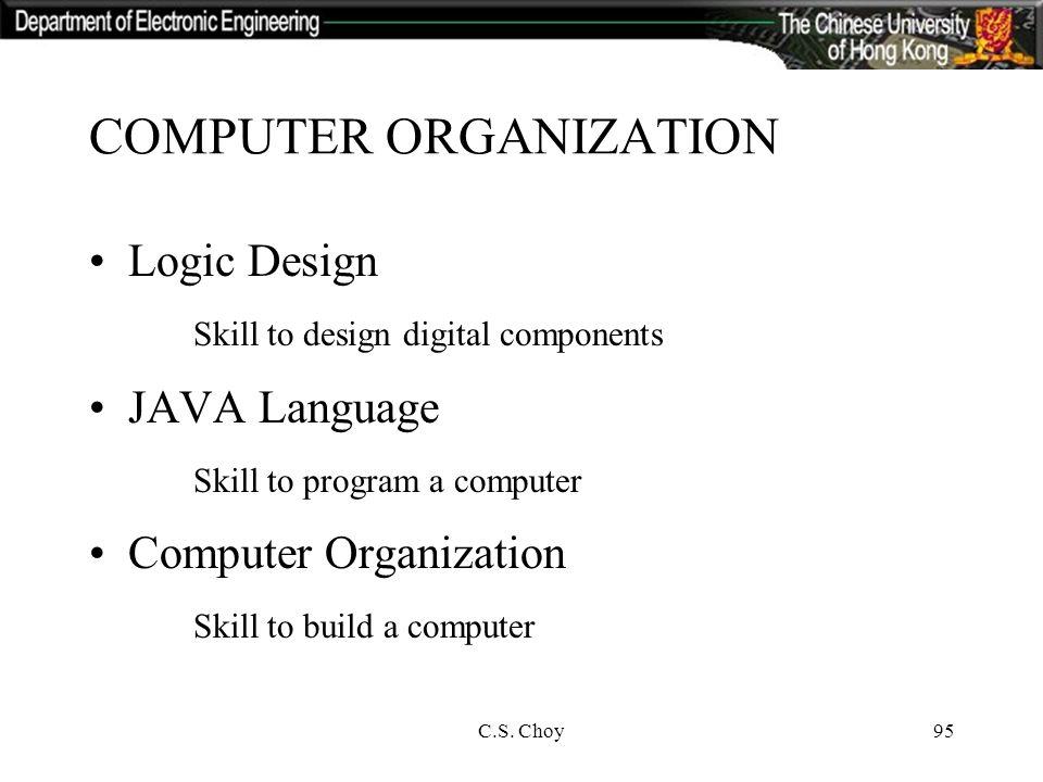 C S Choy95 Computer Organization Logic Design Skill To Design Digital Components Java Language Skill To Program A Computer Computer Organization Skill Ppt Download