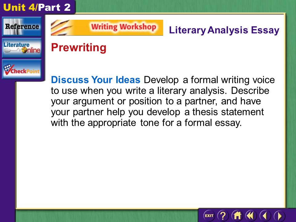 Unit 4/Part 2 Discuss Your Ideas Develop a formal writing voice to use when you write a literary analysis.