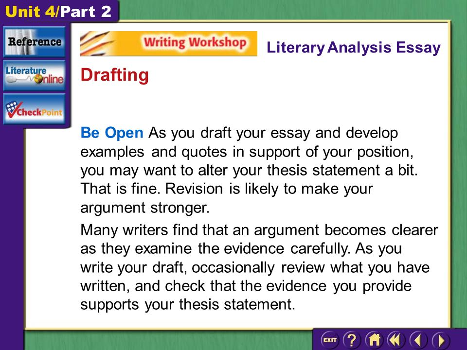 Unit 4/Part 2 Be Open As you draft your essay and develop examples and quotes in support of your position, you may want to alter your thesis statement a bit.
