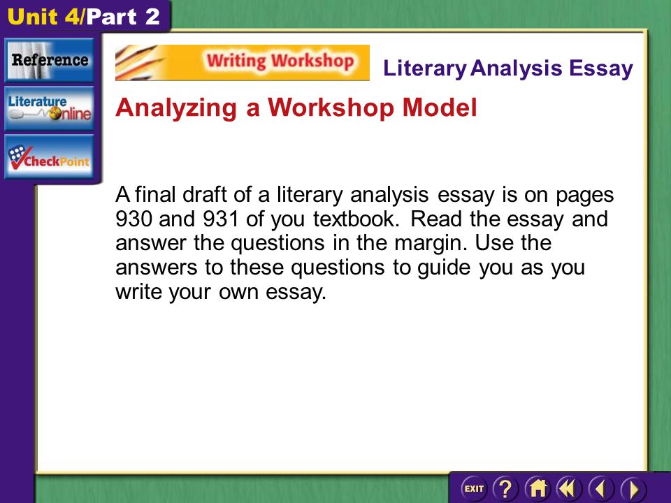 Unit 4/Part 2 A final draft of a literary analysis essay is on pages 930 and 931 of you textbook.