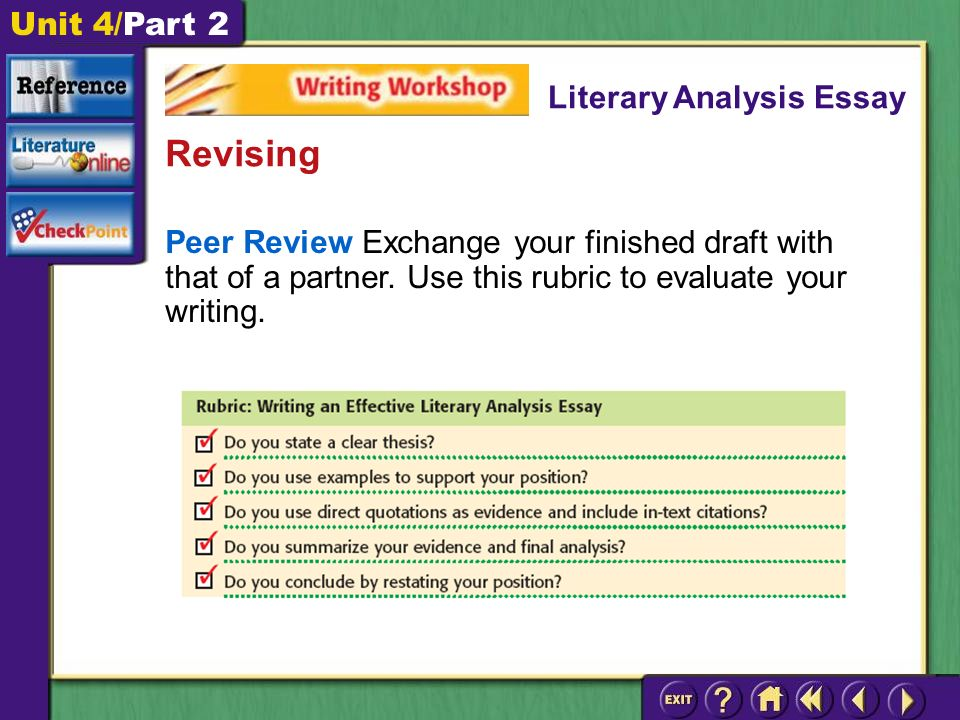 Unit 4/Part 2 Peer Review Exchange your finished draft with that of a partner.