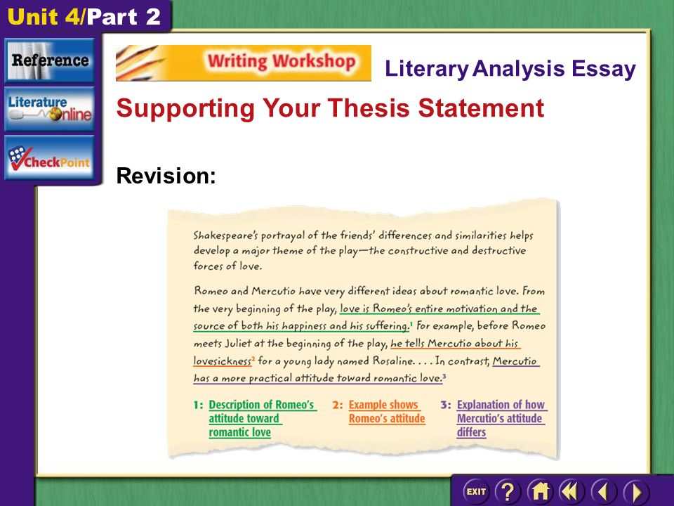 Unit 4/Part 2 Revision: Supporting Your Thesis Statement Literary Analysis Essay