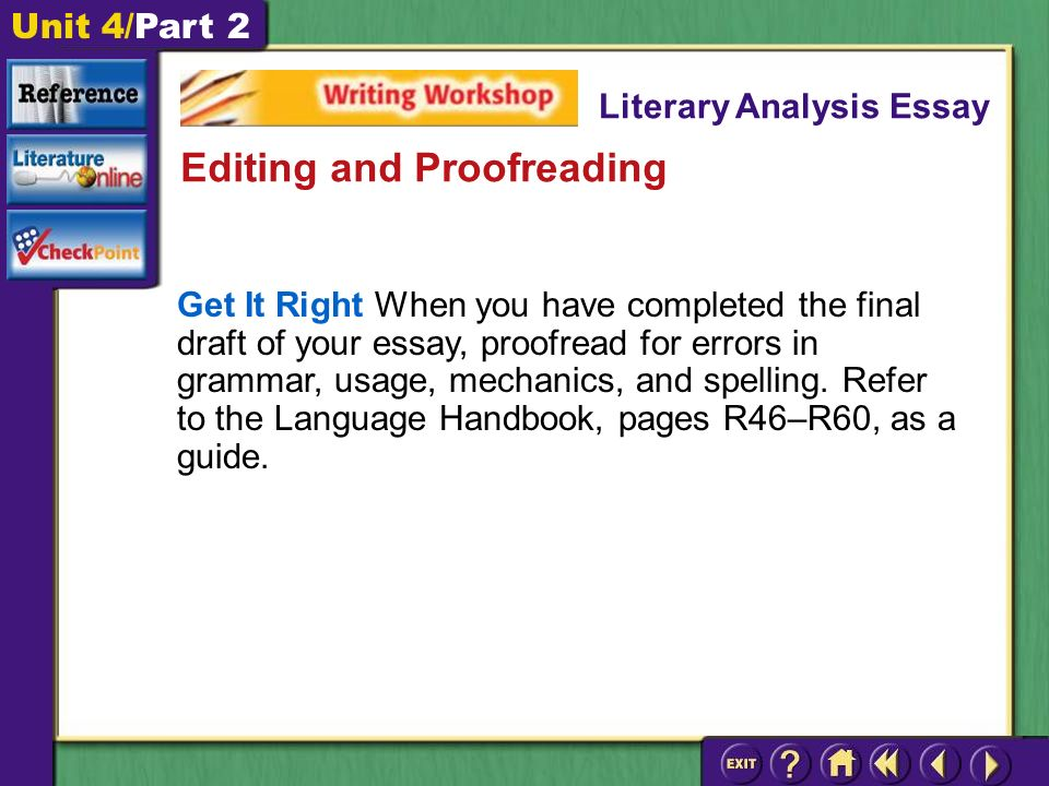 Unit 4/Part 2 Get It Right When you have completed the final draft of your essay, proofread for errors in grammar, usage, mechanics, and spelling.