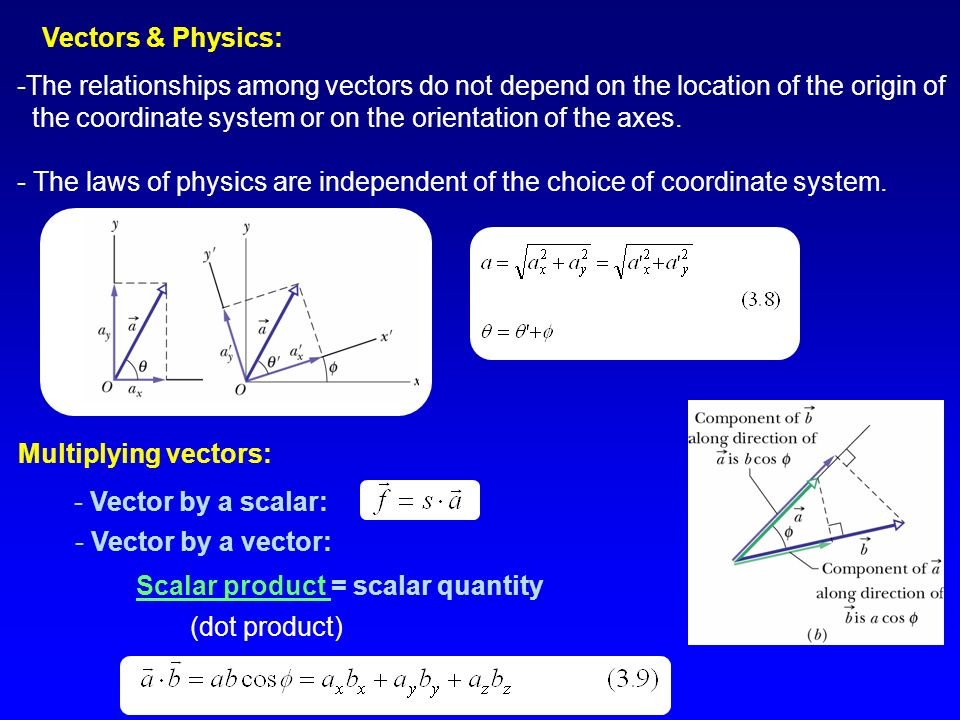 Vectors & Physics: -The relationships among vectors do not depend on the location of the origin of the coordinate system or on the orientation of the axes.