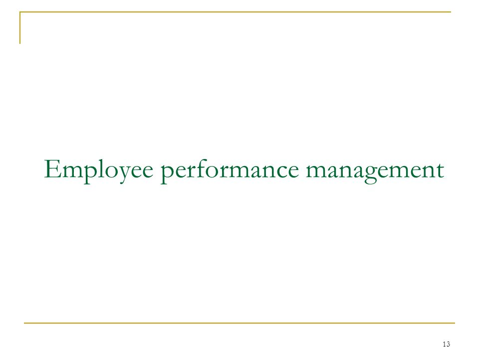 13 Employee performance management