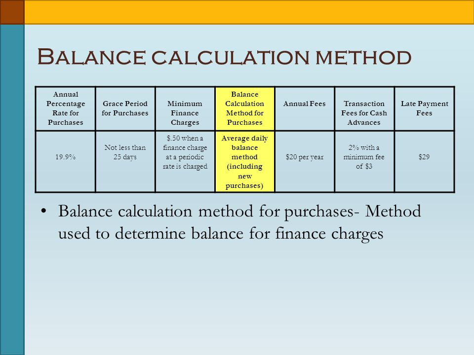 Balance calculation method Annual Percentage Rate for Purchases Grace Period for Purchases Minimum Finance Charges Balance Calculation Method for Purchases Annual FeesTransaction Fees for Cash Advances Late Payment Fees 19.9% Not less than 25 days $.50 when a finance charge at a periodic rate is charged Average daily balance method (including new purchases) $20 per year 2% with a minimum fee of $3 $29 Balance calculation method for purchases- Method used to determine balance for finance charges