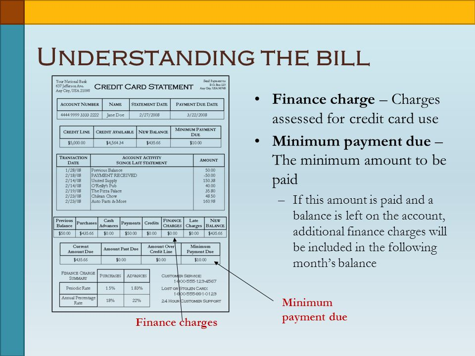 Finance charges Understanding the bill Finance charge – Charges assessed for credit card use Minimum payment due – The minimum amount to be paid –If this amount is paid and a balance is left on the account, additional finance charges will be included in the following month's balance Minimum payment due