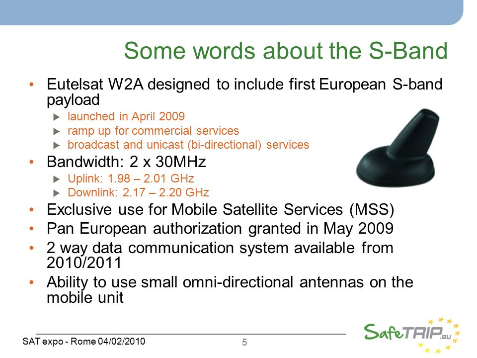 5 SAT expo - Rome 04/02/2010 Some words about the S-Band Eutelsat W2A designed to include first European S-band payload  launched in April 2009  ramp up for commercial services  broadcast and unicast (bi-directional) services Bandwidth: 2 x 30MHz  Uplink: 1.98 – 2.01 GHz  Downlink: 2.17 – 2.20 GHz Exclusive use for Mobile Satellite Services (MSS) Pan European authorization granted in May way data communication system available from 2010/2011 Ability to use small omni-directional antennas on the mobile unit