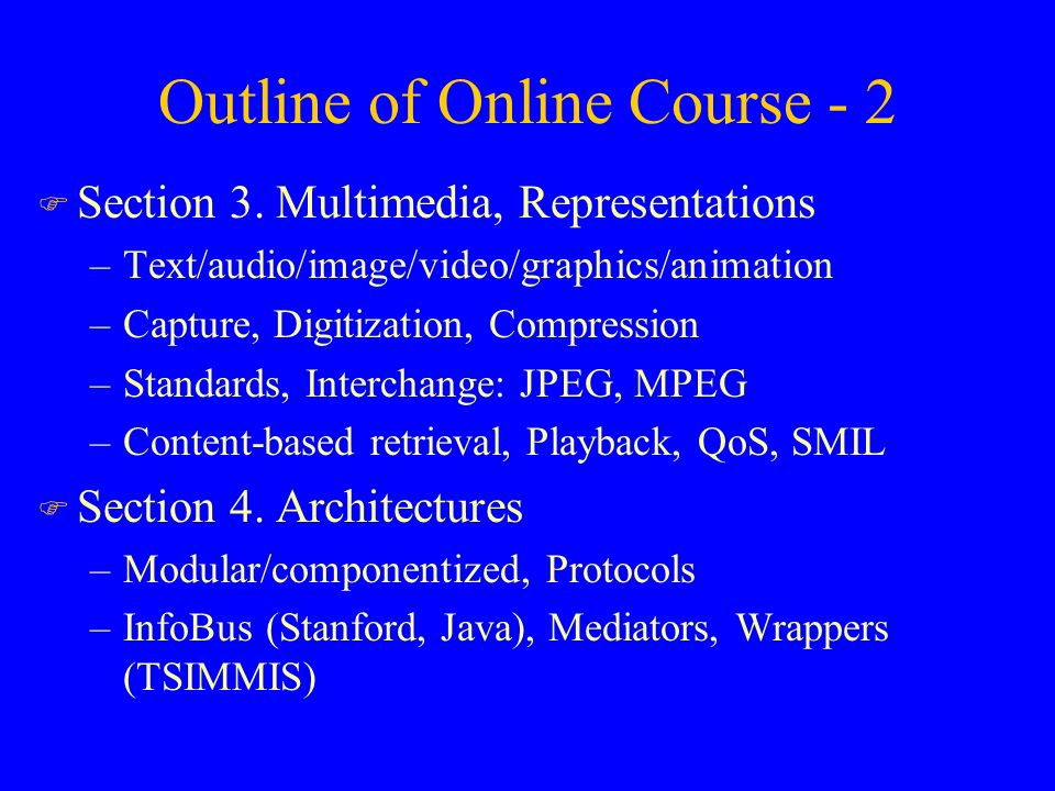 Outline of Online Course - 2 F Section 3.