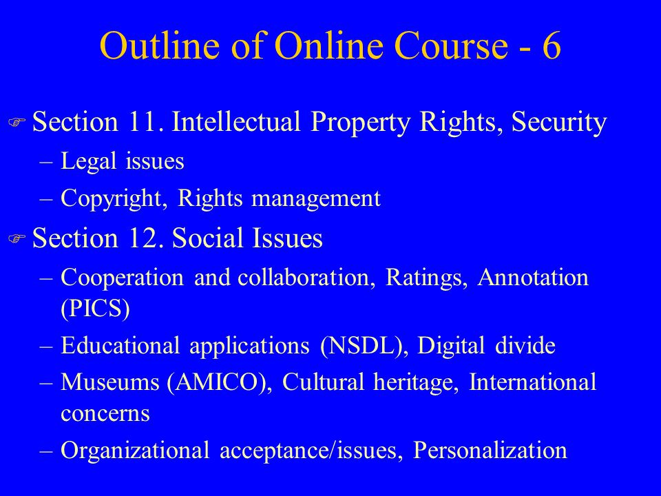 Outline of Online Course - 6 F Section 11.