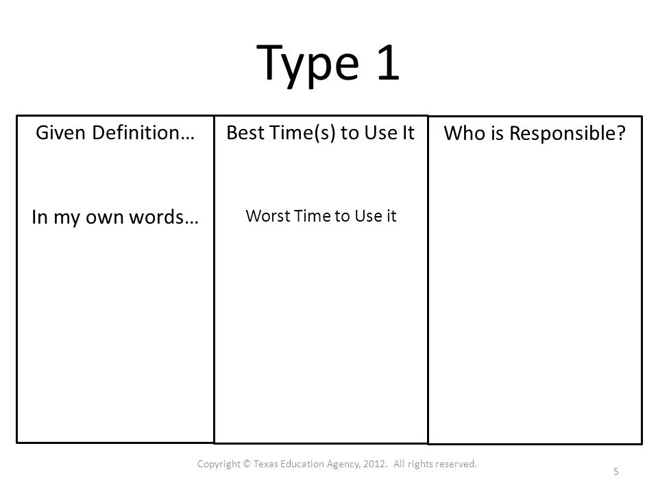 Type 1 Given Definition… In my own words… Who is Responsible.