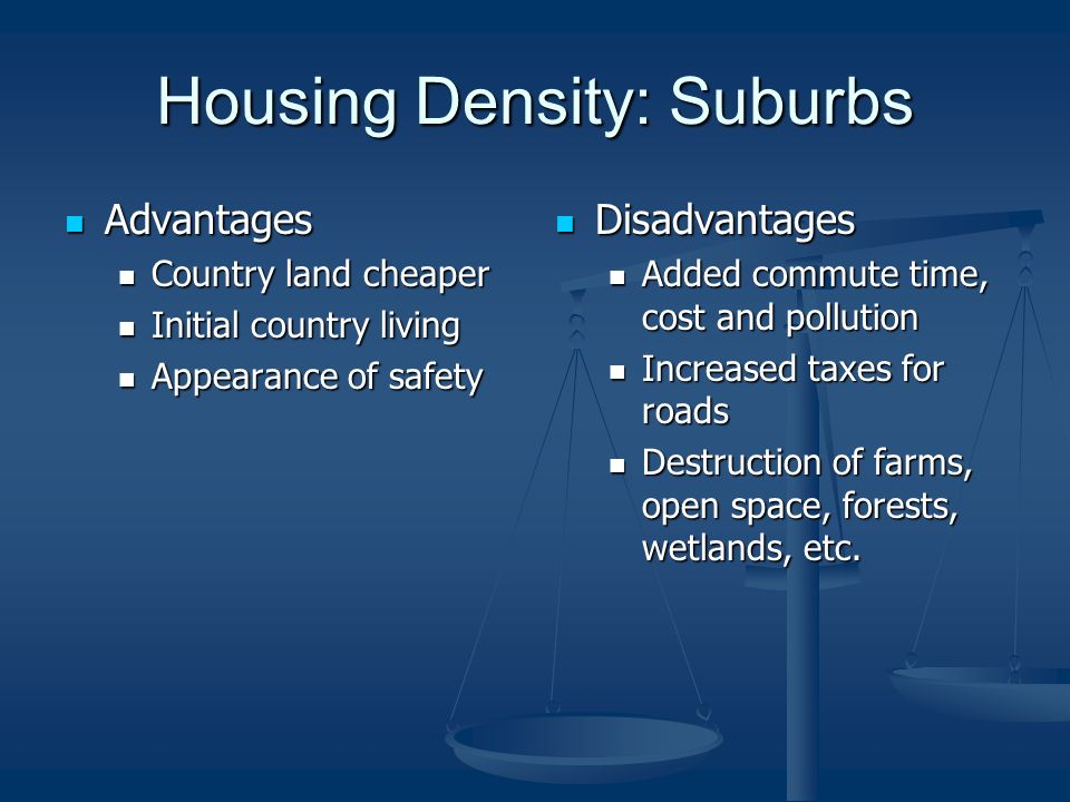 Housing Density: Suburbs Advantages Advantages Country land cheaper Country land cheaper Initial country living Initial country living Appearance of safety Appearance of safety Disadvantages Added commute time, cost and pollution Increased taxes for roads Destruction of farms, open space, forests, wetlands, etc.