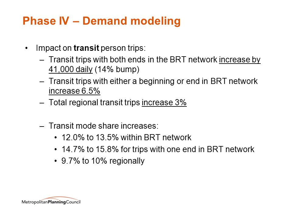Phase IV – Demand modeling Impact on transit person trips: –Transit trips with both ends in the BRT network increase by 41,000 daily (14% bump) –Transit trips with either a beginning or end in BRT network increase 6.5% –Total regional transit trips increase 3% –Transit mode share increases: 12.0% to 13.5% within BRT network 14.7% to 15.8% for trips with one end in BRT network 9.7% to 10% regionally
