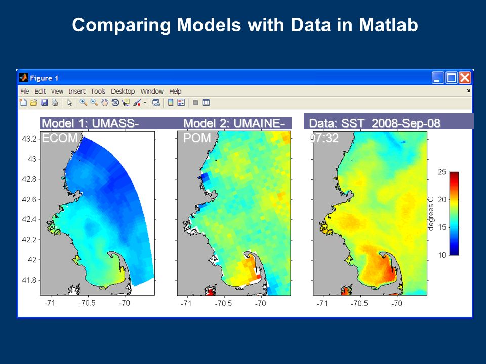 Comparing Models with Data in Matlab Model 1: UMASS- ECOM Model 2: UMAINE- POM Data: SST 2008-Sep-08 07:32