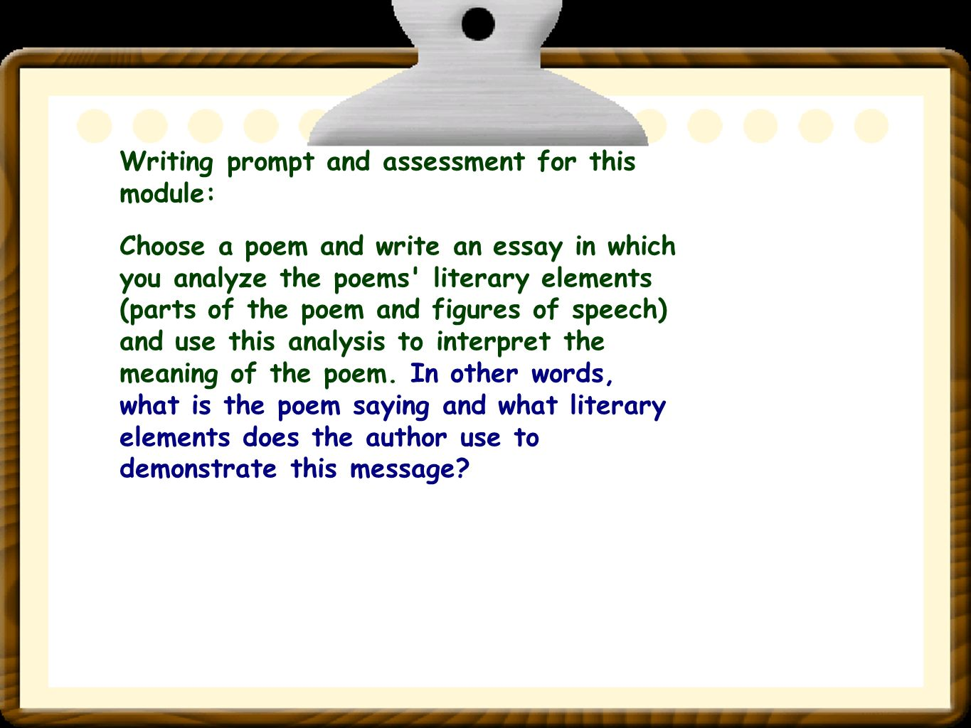 poems to write an essay on